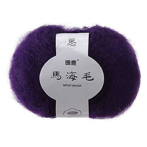Prevently Stickgarn,Garnknäuel Wollgarn Ma Haimao Langer Haufen Weiches Mohair Stricken Wolle Garn DIY Schal Schal häkeln Thread Supplies (Colour B) -