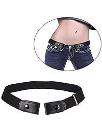 Insense Women Mens Buckle-Free Elastic Belt, No Buckle Invisible Waist Belt for Jeans Pants Dresses Buckle (Black)