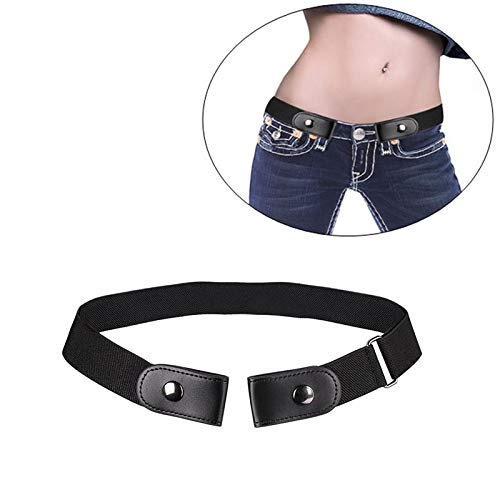 Insense Women Mens Buckle-Free Elastic Belt, No Buckle Invisible Waist Belt for Jeans Pants Dresses Buckle (Black)