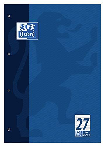 4 Im Rand (OXFORD 100050352 Schulblock Schule 5er Pack A4 Lineatur 27 - liniert mit Rand Doppelrand 4-fach gelocht 50 Blatt kopfverleimt Notizblock Schreibblock Papierblock)
