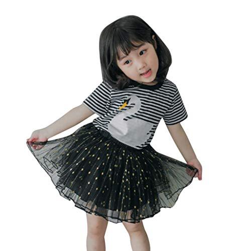 Sannysis Kinder Baby Mädchen Gestreiftes Schwan Drucken T-Shirt + Tutu Prinzessin Kleid Set ()