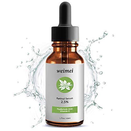 Retinol Serum, Anti-Aging Anti Falten Straffendes Serum mit 2,5% Retinol, Vitamin E, Hyaluronsäure und Jojobaöl für Gesicht, Nacken, Augen & Haut