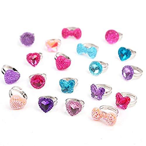Tumao Kinder Glitzer Ringe, 19 Stück Verstellbare Bunte Fingerringe für Kinder Glitzer Herz Schmuck für Mädchen mit Glitzersteinen, Kindergeburtstag Blister als Mitgebsel.