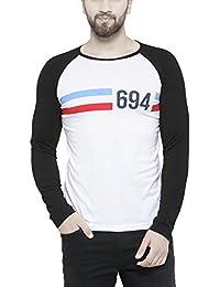 TSX Men's Round Neck White Striped T-shirt