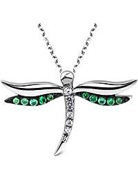 Collar de plata de ley 925 de T400 Jewelers, con dije de libélula con circonia cúbica y cristales Swarovski, 40.6 cm