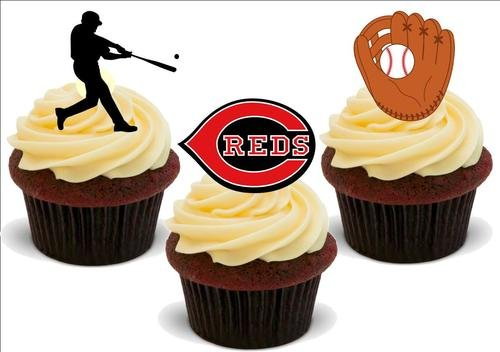 Baseball Cincinnati Reds Mix -12 essbare hochwertige stehende Waffeln Karte Kuchen Toppers Dekorationen, Baseball Cincinnati Reds Mix - 12 Edible Stand Up Premium Wafer Card Cake Toppers Decorations