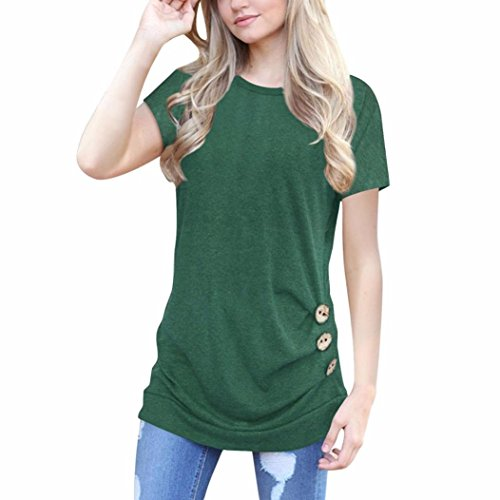 TUDUZ Newest Creative Design Women Simple Casual Short Sleeve Loose Button Trim Blouse Solid Color Round Neck Tunic T-Shirt Blouse Tops