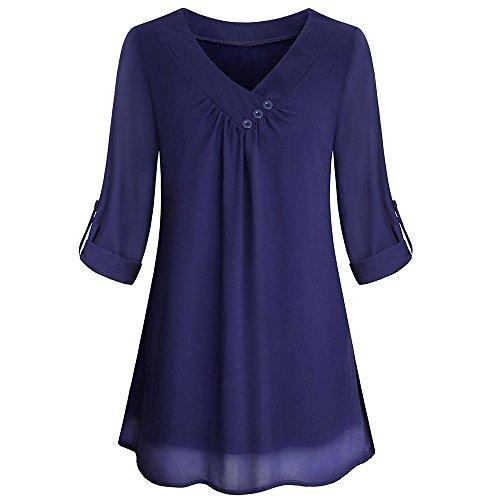 Langarm Knopf Bluse Pullover Tops Shirt Mit Taschen(Dunkelblau,EU-36/CN-M) ()
