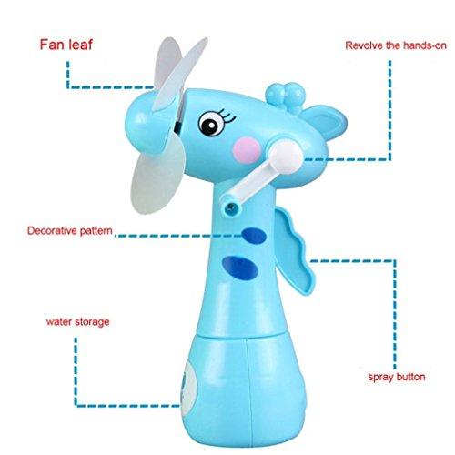 Vovotrade Mini Ventilator Met verstuiver Water spuiten Ventilator wassersprüh handventilator watersproeier afkoeling Manuelle drehende kühlende Nebel Karikatur Tierkinder Spielt (zufällig) -