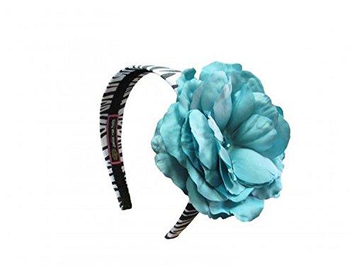 Jamie Rae Hats Zebra Hard Headband with Teal Large Rose, One Size Jamie Rae Zebra