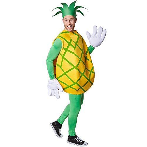 Imagen de disfraz de piña unisexo   parte superior sin mangas y con rayas verdes en cruz   manoplas grandes y divertidas   incl. sombrero en forma de corona de hojas xl   no. 301633  alternativa