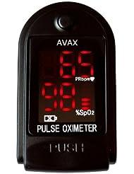 AVAX 50DL - Doigt oxymètre de pouls -% SpO2 (saturation en oxygène dans le sang) et moniteur de fréquence cardiaque avec cordon et étui de transport (dans son emballage) - NOIR