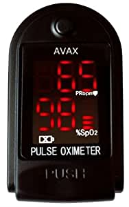 AVAX 50DL - Finger Pulse Oximeter - %SpO2 (Blood Oxygen Saturation) & Heart Rate Monitor - COPD - with Instructions, Lanyard & Carry Case (in RETAIL PACKAGING) - (BLACK)