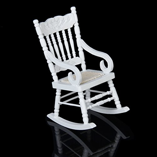 Sharplace Scala 1:12 Mini Mobili per Casa Delle Bambole Sedia A Dondolo In Legno, Bianco