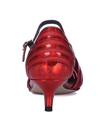 WSS 2016 Chaussures Femme-Bureau & Travail / Habillé / Soirée & Evénement-Vert / Rouge / Argent / Or-Talon Bas-Talons / Bride de Cheville / Bout silver-us5 / eu35 / uk3 / cn34