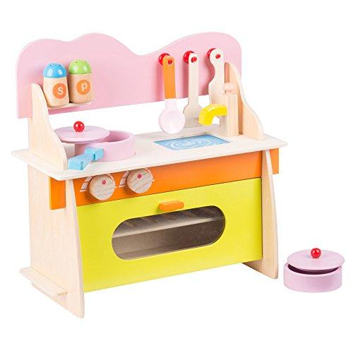 Cucina Per Bambini 10 Pezzi Gioco Giocattolo In Legno Kitchen Toys Multicolore Marionette Wooden Toys