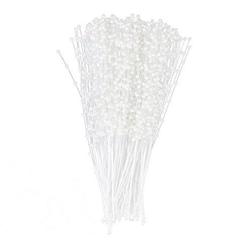 VORCOOL 100 Stück Blumen Staubblätter Dekonadeln Blütenstempel mit Perlen Köpfen Weiß