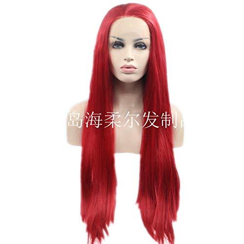 erücke, realistisch, rotes langes glattes Haar, geeignet für schwarze Frauen, geeignet für Geburtstagsfeiern oder den Alltag, 22 Zoll ()