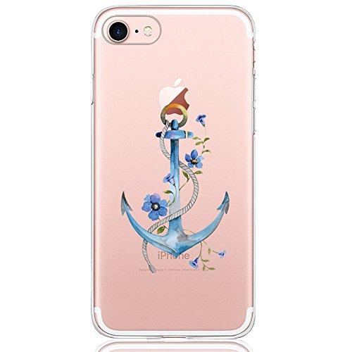 iPhone 7 / 8 Hülle, DAPP® Dolce Vita Serie Transparente Silikon Handyhülle für Damen / Mädchen, Durchsichtig mit Blau Anker Blumen Motiv