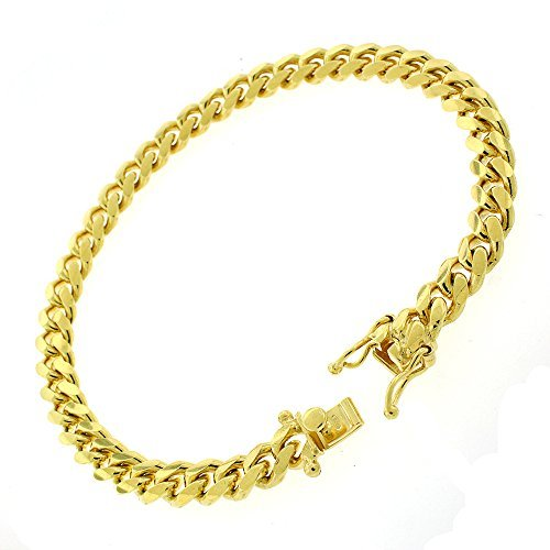 .925 Sterling Silver 7mm Solid Miami Cuban Curb Link Chain Bracelet Yellow Gold Plated 8.5 by In Style Designz