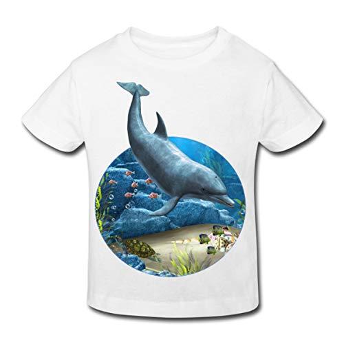 Continental Mädchen T-shirt (Spreadshirt Delfin Riff Ozean Urlaub Seestern Muscheln Schildkröte Kinder Bio-T-Shirt, 122/128 (7-8 Jahre), Weiß)