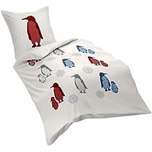 Fleuresse 132929 Fb. 2 - Juego de funda nórdica y funda de almohada de franela, 135 x 200 cm, diseño de pingüinos, color rojo y azul