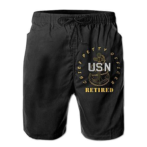 sheho US Navy - CPO Chief Petty Officer Boardshorts mit Tunnelzug im Ruhestand für Männer, Größe XXL (Chief Us-navy)