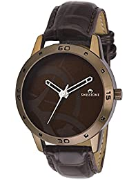 Swisstone BW061 Brown Leather Strap Stylish Wrist Watch For Men