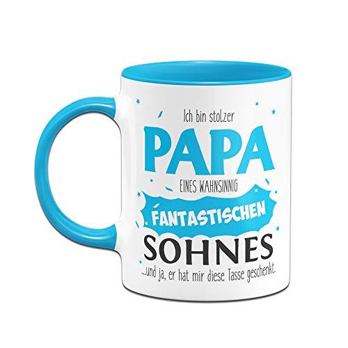 Tassenbrennerei Tasse Papa Sohn - Stolzer Papa - Geschenk für Vater Papa (Blau) - 2