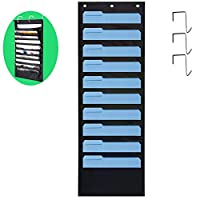 Hanging Wall Organiser, bluesees 10 Pocket Wall Hanging File Organiser Storage Vertical Chart Hanging File Folder Perfect for Papers, Folders, Bills and Charts at Home, Office Or School