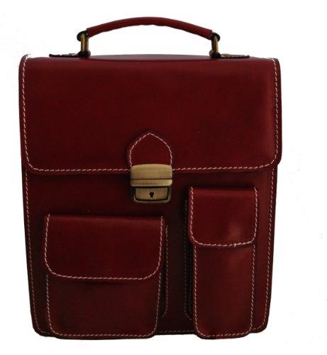 CTM sac homme sac avec des poches et support de téléphone portable de cuir, 27x32x10cm, 100% Made in Italy