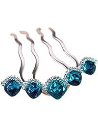 Ecloud Shop Rhinestones cristalinos Chicas azul de la boda pernos de pelo Peines