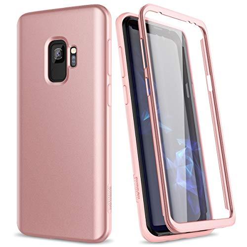 SURITCH Kompatibel mit Samsung Galaxy S9 Hülle 360 Grad Hüllen mit Integriertem Bildschirmschutz Silikon Komplettschutz Handyhülle Schutzhülle für Samsung Galaxy S9 Rosegold