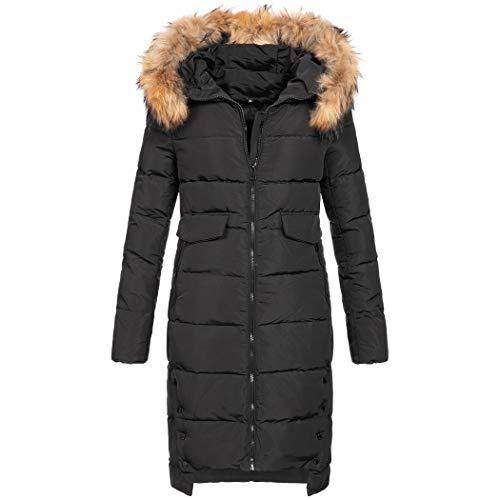 Elara Damen Daunenjacke   Jacke mit Echt Fell/Echt Pelz Kapuze   Echte Daunen   Designer Winterjacke   Chunkyrayan Neu-1865 Black 38/M