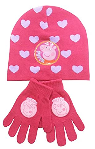 Hot Pink With Lilac Hearts Peppa Pig Children's Hat & Glove Set