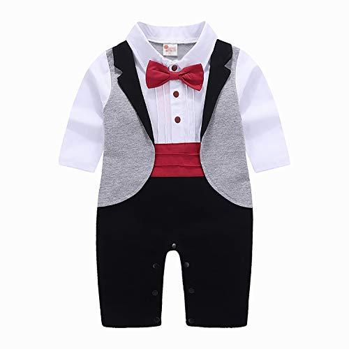Kostüm Shirt Red Tuxedo - YRE Herbst-und Winterkleid Boy Tuxedo, Gentleman Baby Jumpsuit, Babykleid Harry Suit,Red,90