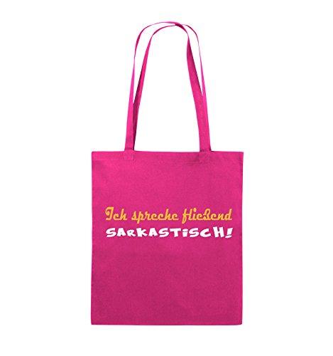 Comedy Bags - Ich spreche fließend Sarkastisch! - Jutebeutel - lange Henkel - 38x42cm - Farbe: Schwarz / Weiss-Pink Pink / Gelb-Weiss