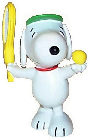 *Vintage* Peanuts SNOOPY PVC-Figur mit Tennisball und Tennisschläger, Motiv