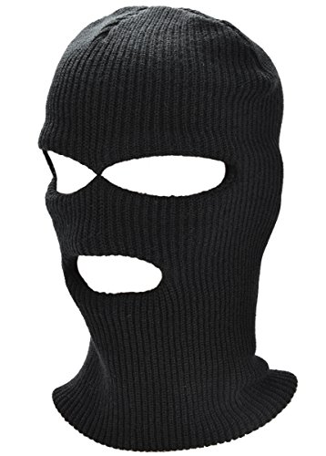Outgeek Ski Maske 3 Loch stricken Balaclava Full Face Hut für Winter Outdoor Sport (schwarz) (Stricken-gesicht-maske)