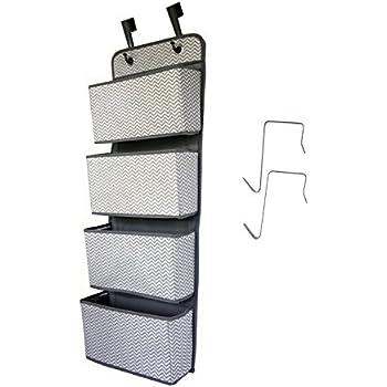 ManGotree Over Door Storage Organiser,4 Pockets Fabric Door Hanging Closet Storage for Toys Magazine Dark Grey Sunglasses Hat Purses Keys