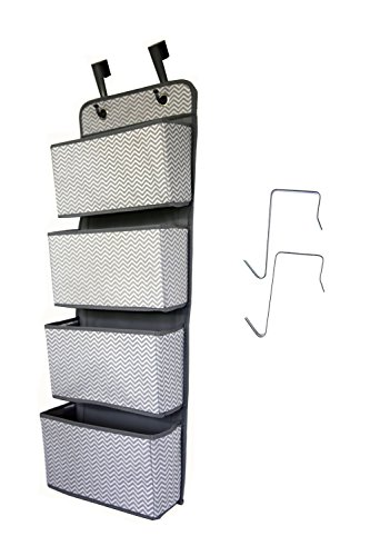 Hanging Closet Organizer, 4-Pocket-Wandhalterung/über Tür Lagerung für Spielzeug, Geldbörsen, Schlüssel, Sonnenbrille - Great Home Wählen Sie Grau