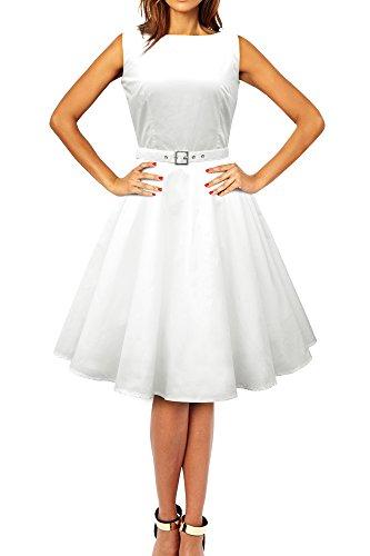 Black Butterfly 'Audrey' Vintage Clarity Kleid im 50er-Jahre-Stil (Elfenbein, EUR 54 - 6XL)