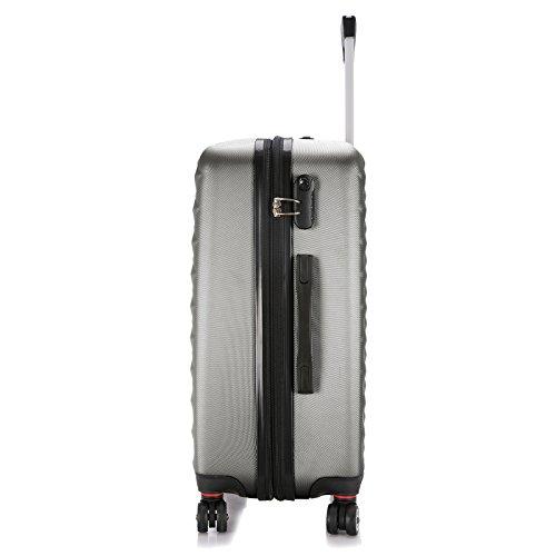 EUGAD Reisekoffer Harschalenkoffer 4 Rollen mit erweiterbaren Volumen Reise Koffer Trolley Hartschale Zwillingsrollen Handgepäck groß M L XL Set , Silber Grau (XL 75 cm & 110 Liter) , RK4216sg-XL - 3
