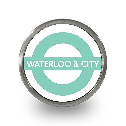 Pushka Home Waterloo-City Line, London-Underground TFL Türknauf, 40mm, einzeln verkauft, für Türgriffe, 21mm, London Underground, aus Acryl und Metall. - Waterloo Schubladen