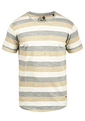 T-Shirt Kurzarm Shirt Streifenshirt mit Streifen und Rundhalsausschnitt 100% Baumwolle, Größe:XXL, Farbe:Dusty Oliv (3784) ()
