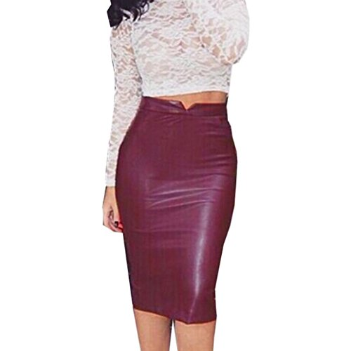 Koly Women's Faux Leather Bodycon Stretch Skirt High Waist Slim Party Pencil Skirt