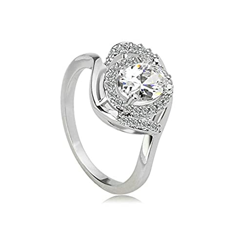 Beydodo White Gold Plating Promise Ring For Women 4-Prong Round CZ Princess Ring Slim Ring Size M 1/2