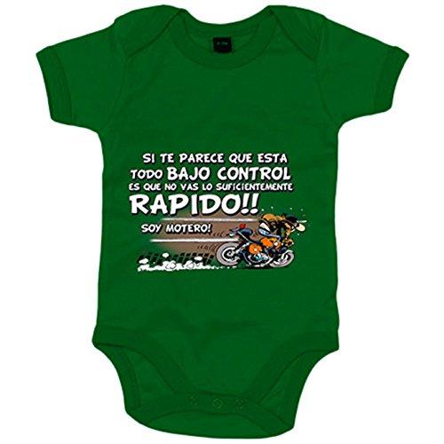 Body bebé no vas lo suficientemente rápido soy motero - Verde, 12-18 meses