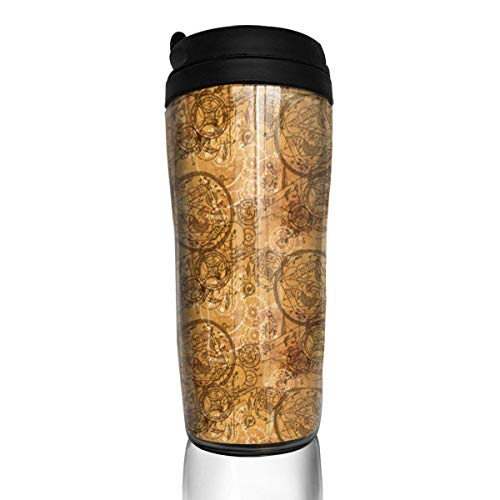Travel Coffee Mug Clockwork Collage 12 Oz Spill Proof Flip Lid Water Bottle Environmental Protection Material ABS