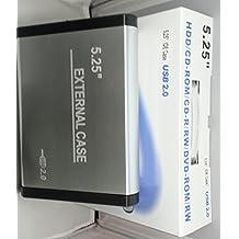 KesCom - Carcasa de aluminio para discos duros de 5,25'' (IDE, USB 2.0, incluye fuente de alimentación)